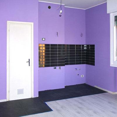 interior renovation in Bologna: walls and floors
